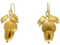 Victorian Acorn Drop Gold Earrings - The Antique Jewellery ...