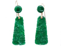 Art Deco Carved Jade Drop Earrings