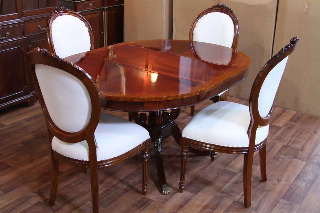 Round Mahogany Pedestal Dining Table 44quot Reproduction
