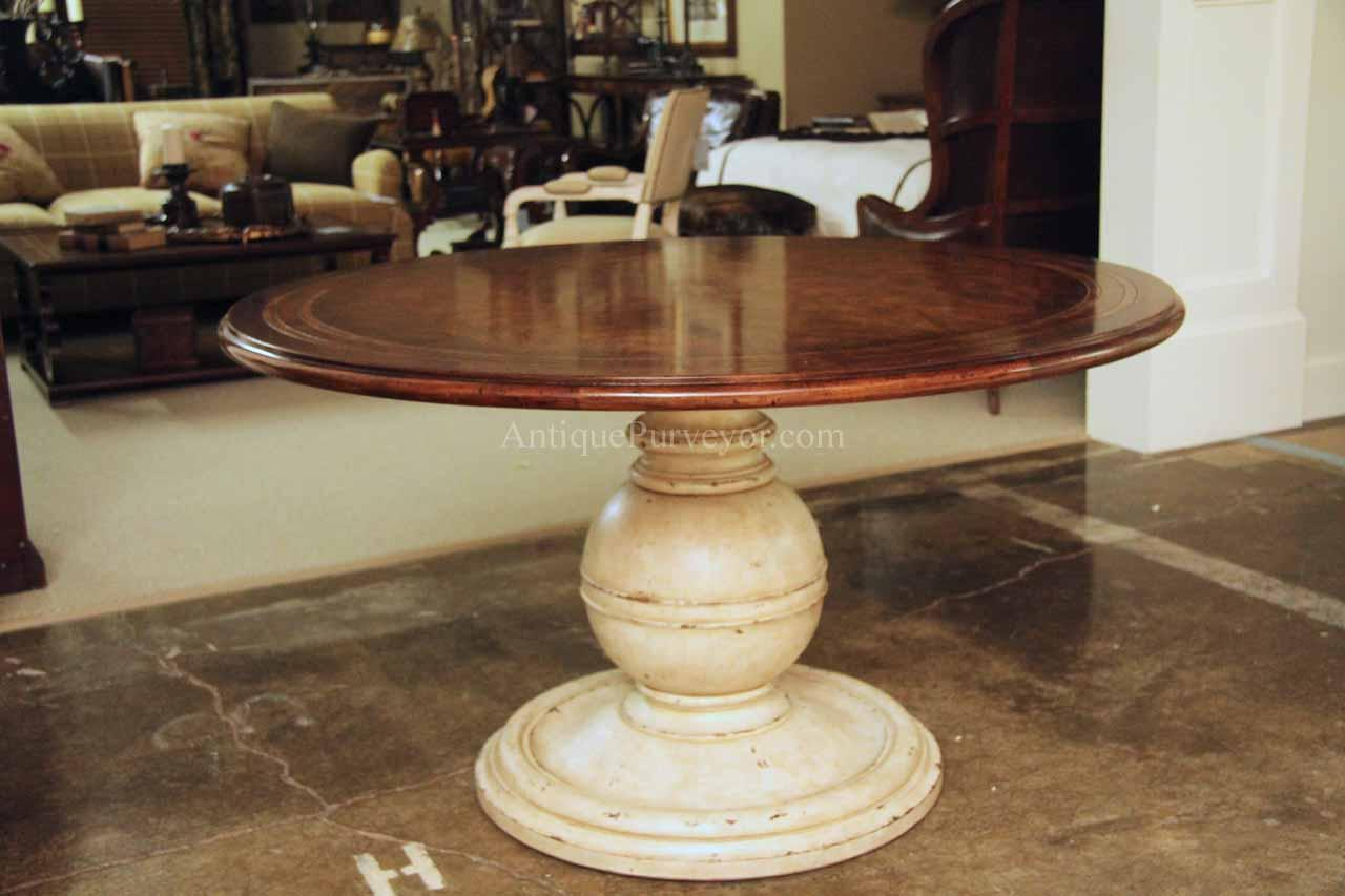64 inch round country kitchen table with distressed painted pedestal 11850
