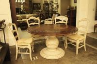 Round Country Wood Table and Painted Pedestal Base for Kitchen
