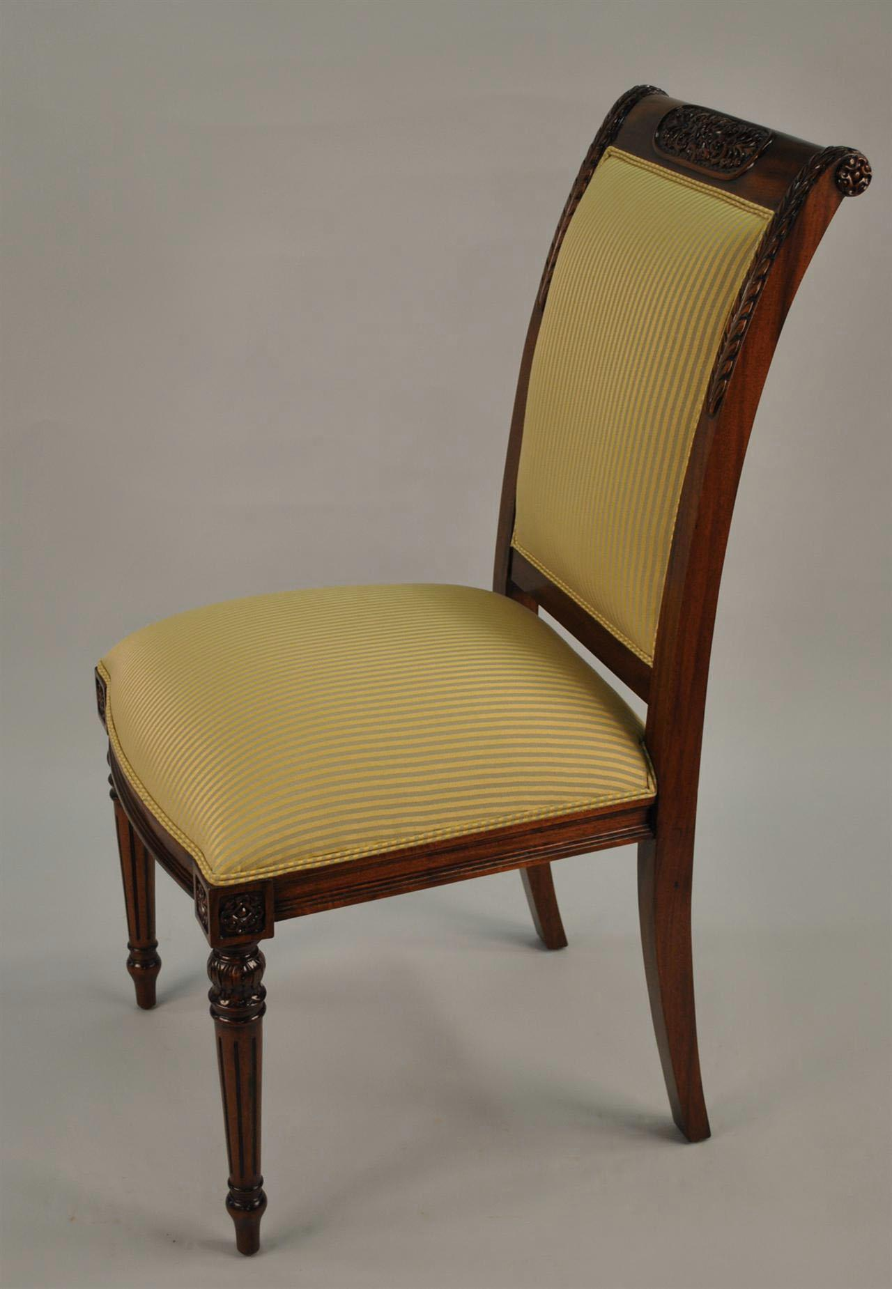 8 High End Gold Leaf Accented Mahogany Dining Chairs 8