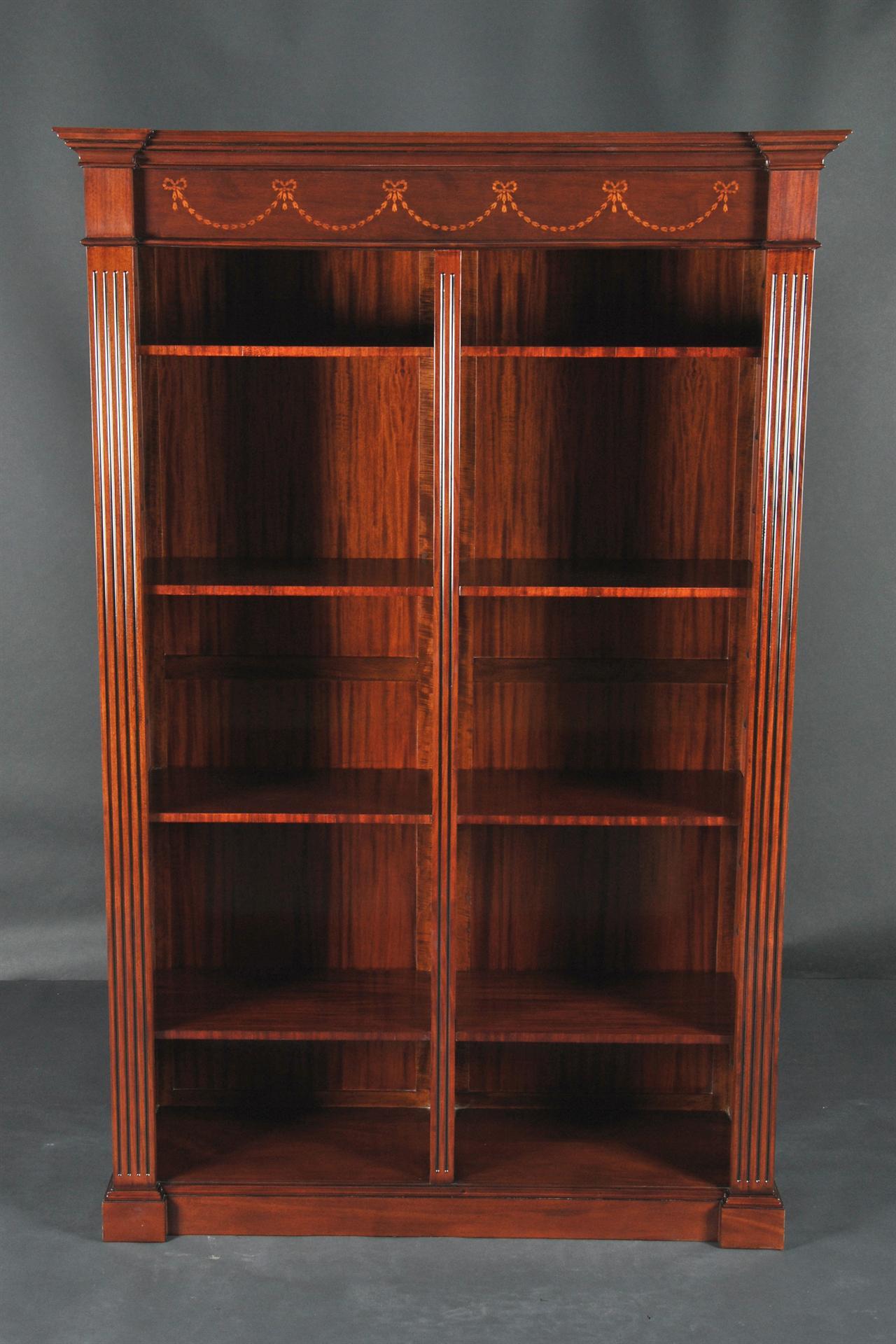 Sheraton Style Antique Reproduction Inlaid Mahogany Bookcase