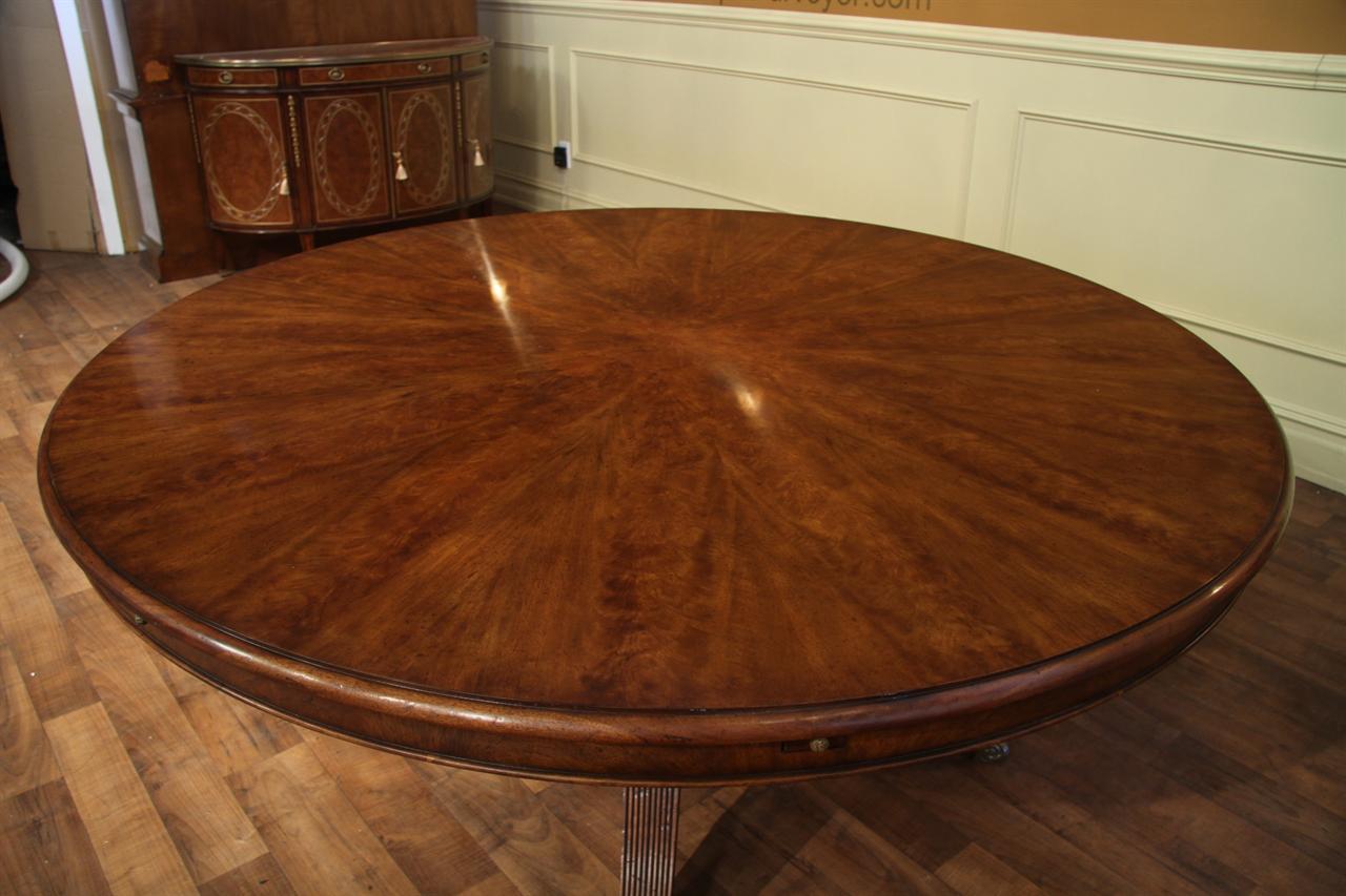 Large round walnut dining table medium pie cut walnut with warm brown finish