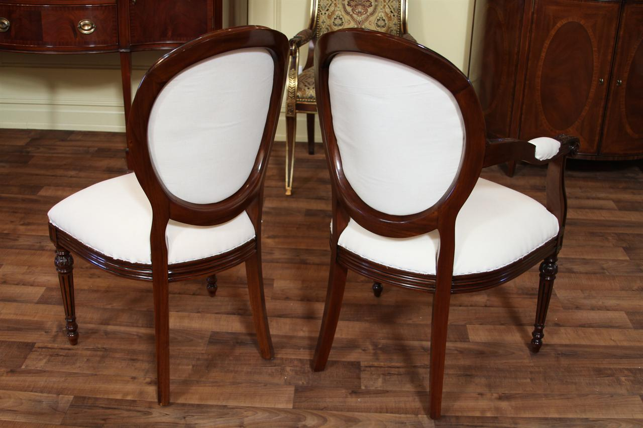 French Round Back Dining Chairs, Cameo Back Upholstered Chairs