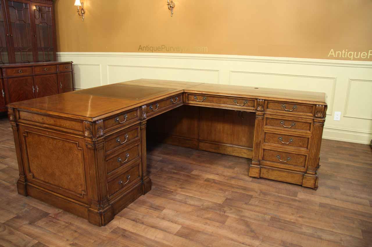 Walnut Leather Top Return Desk Traditional Return Desk