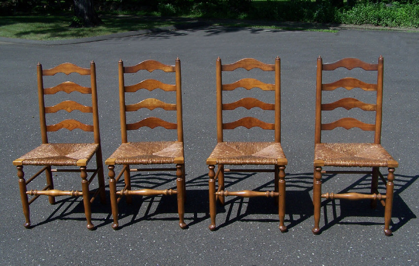 7799 set of 4 stickley ladder back maple chairs with rush seats c1956