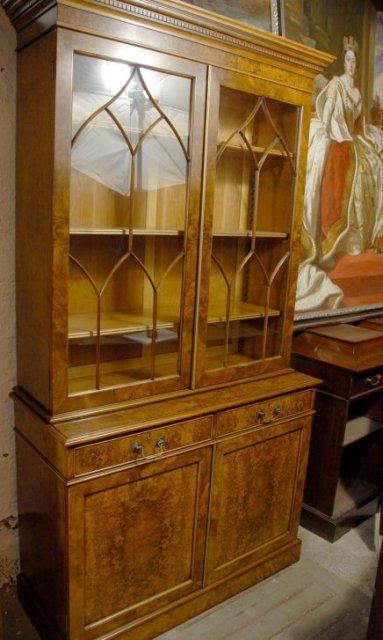 7 Foot English Regency Bookcase In Walnut For Sale