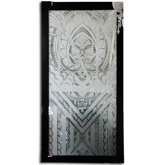 Art Deco Etched Glass Window For Sale