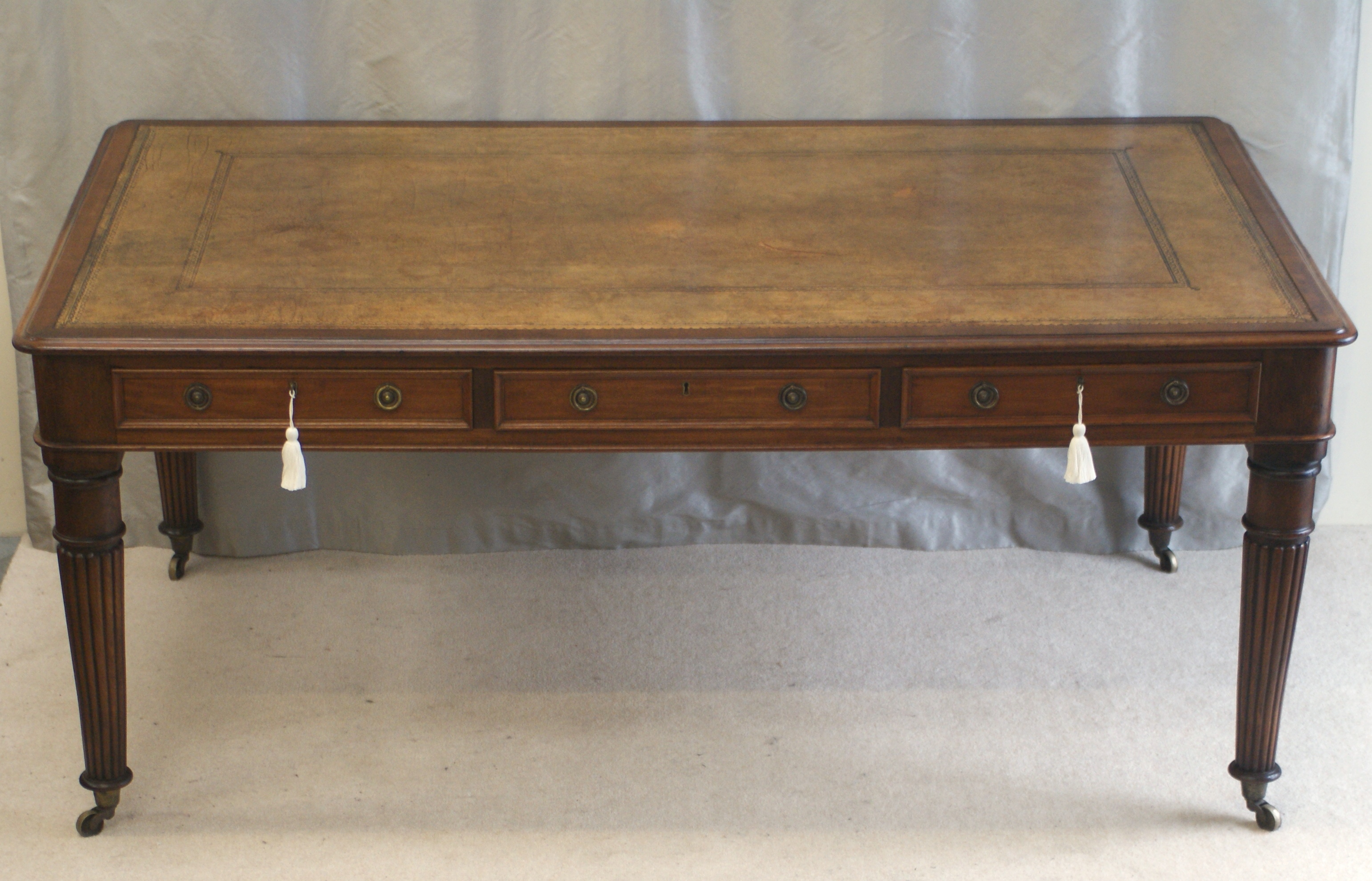 Antique Large Six Drawer Library Table Ref 3032 For Sale
