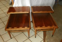 Pair Lane Mid Century Modern Walnut Ash Step End Tables ...
