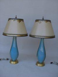 Pair of C. 1940 Venetian, Aqua Glass Lamps For Sale ...