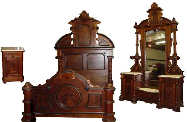 Monumental 3 Pc American Victorian Bedroom Set By Thomas