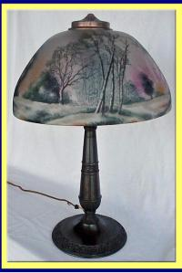 ANTIQUE LIGHT: REVERSE PAINTED LAMP PITTSBURG For Sale