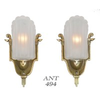 Antique Art Deco Wall Sconces by Mid-West Circa 1935 Slip ...