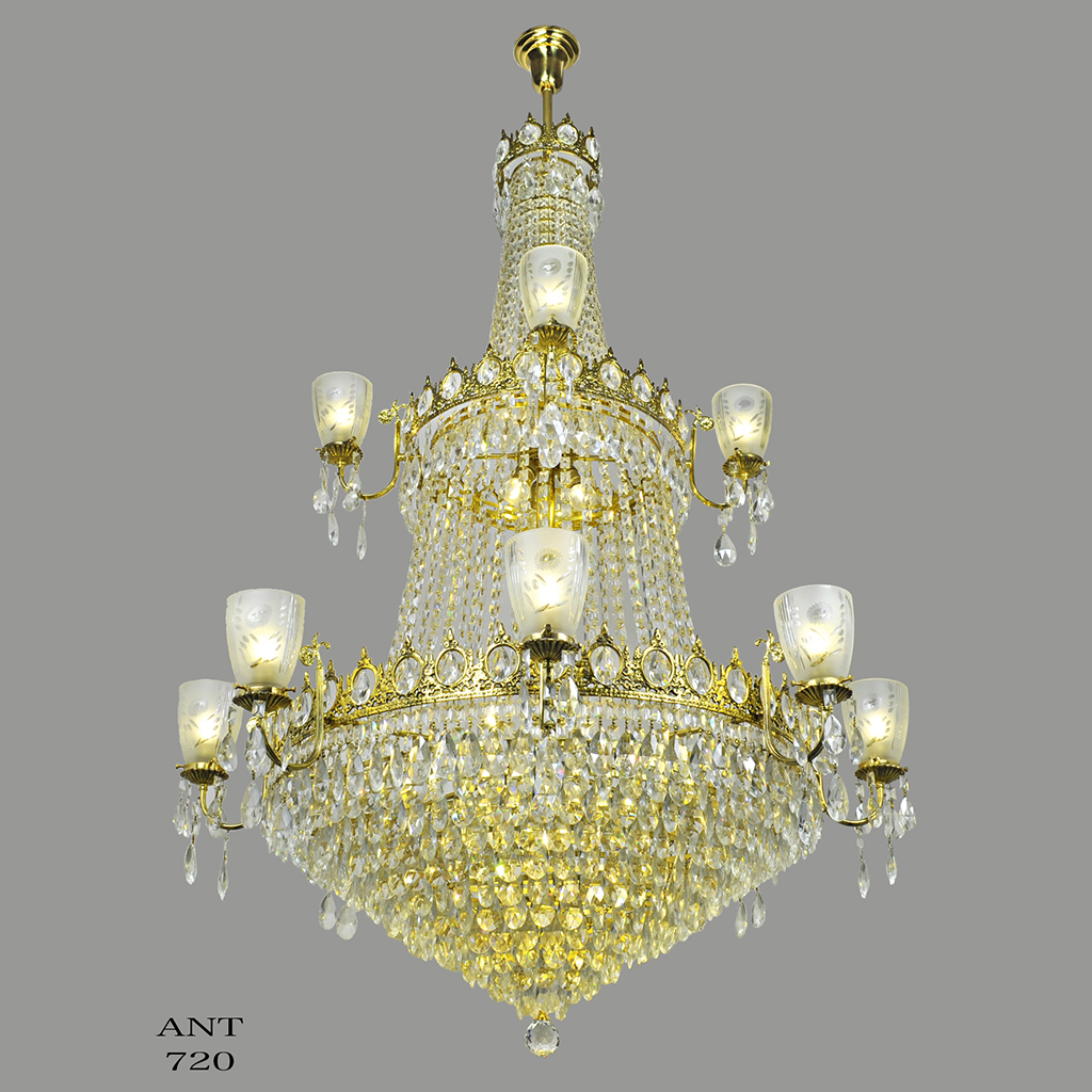 Large Crystal Chandelier Elegant Grand Ballroom Ceiling