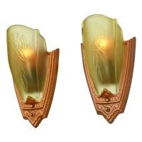 1930s Pair Art Deco Wall Sconces Glass Slip Shade Lights