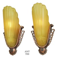Antique Art Deco Wall Sconces Pair of Virden Slip Shade ...