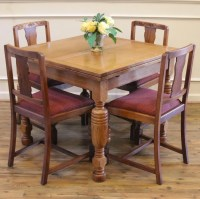 Antique English Oak Pub Table and 4 Chairs Dining Set. For ...