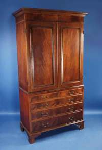 English Mahogany Linen Cabinet For Sale