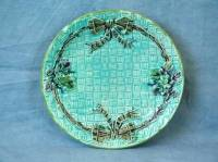 Majolica ribbon in basket plate For Sale