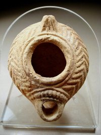 Ancient Beit Natif Decorated Clay Oil Lamp, 400 A.d For ...