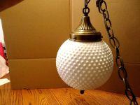 Vintage Mid Century Hanging Hobnail Milk Glass Swag Lamp ...