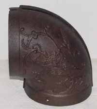 ANTIQUE 6 INCH DECORATIVE CAST IRON STOVE PIPE ELBOW ...