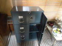 vintage steel master 3 drawer file cabinet with safe