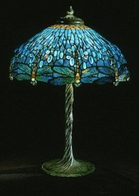 Tiffany Blue Drophead Dragonfly Table Lamp