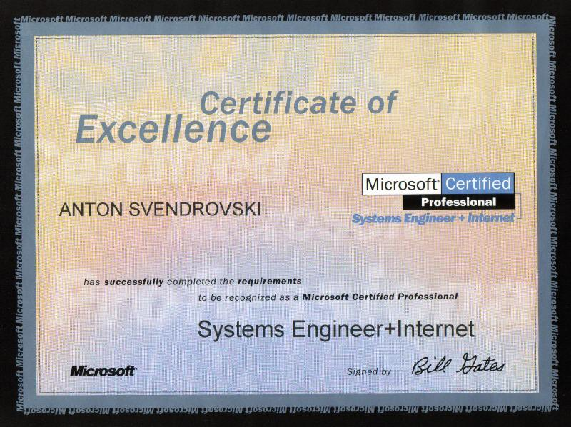 Website of Anton Svendrovski - Professional Certification - microsoft certificate of excellence