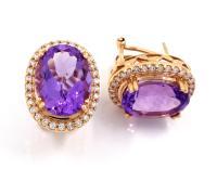 Amethyst Diamond Earrings Dangling Amethyst Diamond ...