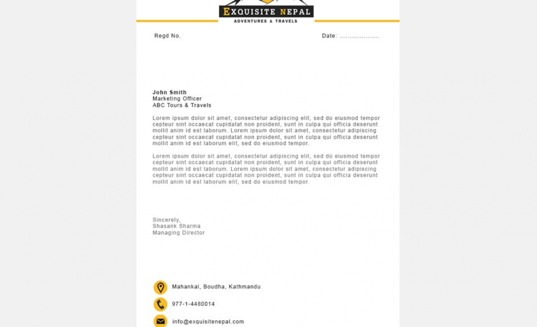 Exquisite Nepal Sample Letterhead Design \u2013 AT Digital Services - sample of letterhead