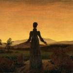 Donna al tramonto del Sole Caspar David Friedrich olio su tela