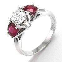 Anzor Jewelry - 14k White Gold Diamond Three-Stone Ruby ...