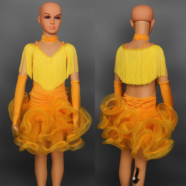 Ballroom dance costume latin dance dress for girls flamenco dress