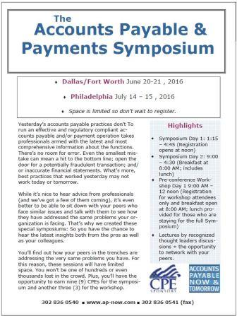 Accounts Payable  Payments Symposiums
