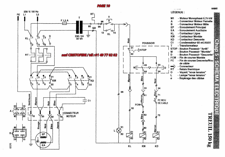komatsu schema moteur monophase branchement