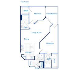 3616 Richmond The Avery Floorplan 2-2 1130 sqft
