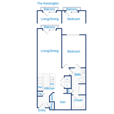 3616 Richmond The Kensington Floorplan 2-1 909-939 sqft