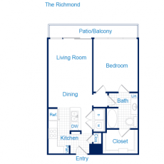 3616 Richmond The Richmond Floorplan 1-1 741-813 sqft