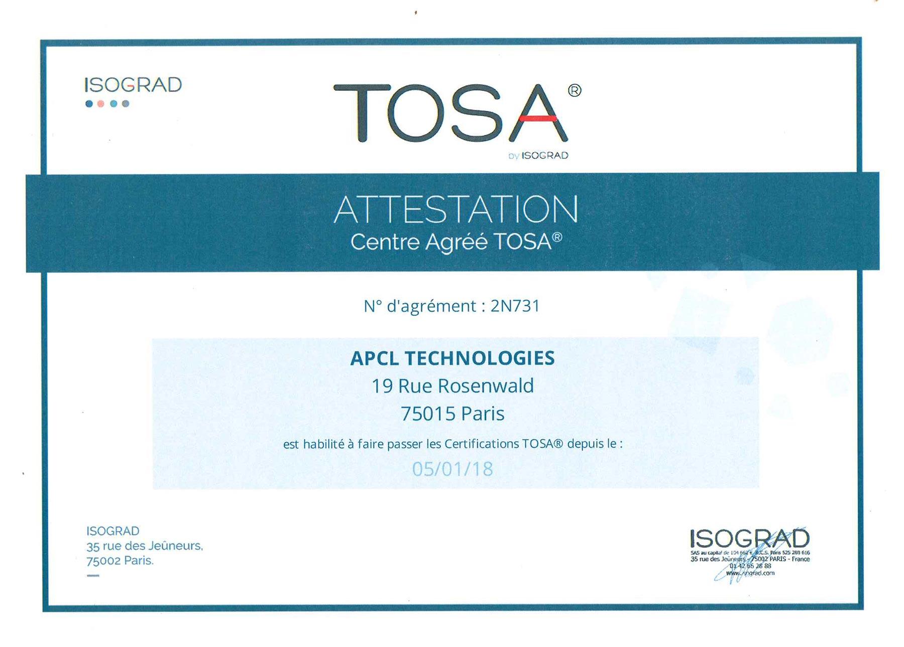 emploi avec la certification tosa sur cv