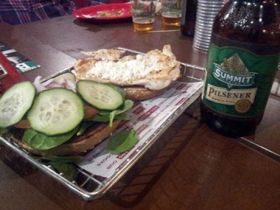 Cucumber Goat Cheese Chicken Sandwich &amp; Summit Pilsner