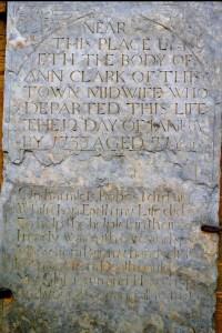 The gravestone of Ann Clark
