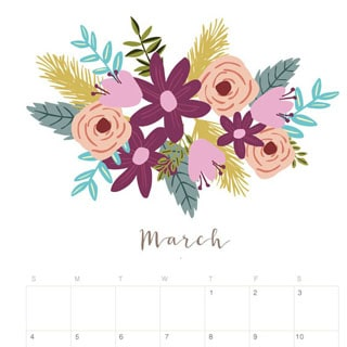 Pretty Fall Iphone Wallpapers Printable March 2018 Calendar Monthly Planner Flower