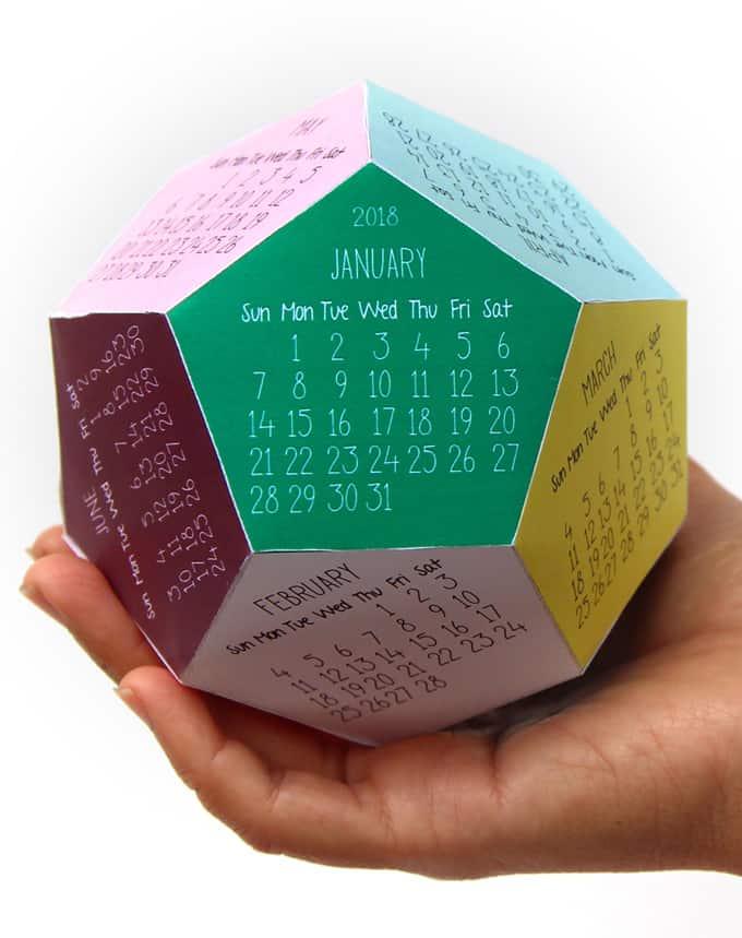 Free Printable Calendar Template  3D 2018 Calendar ! - A Piece Of