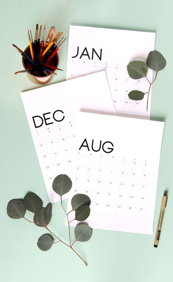Modern Minimal Printable 2019 Calendar and Monthly Planner - A Piece