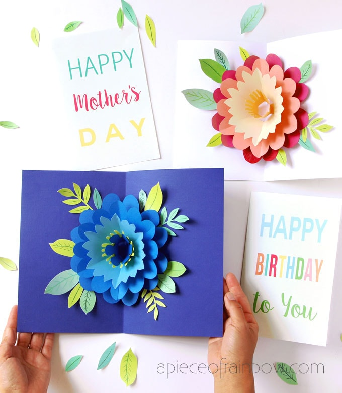 Pop Up Flowers DIY Printable Mother\u0027s Day Card - A Piece Of Rainbow
