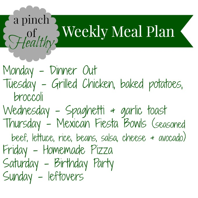 Weekly Meal Plan - A Pinch of Healthy