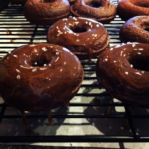 Salted Caramel Baked Chocolate Donuts